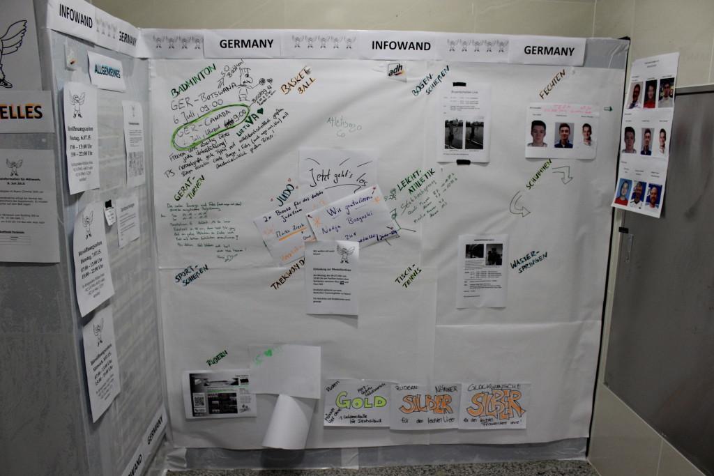 Infowand des deutschen Teams