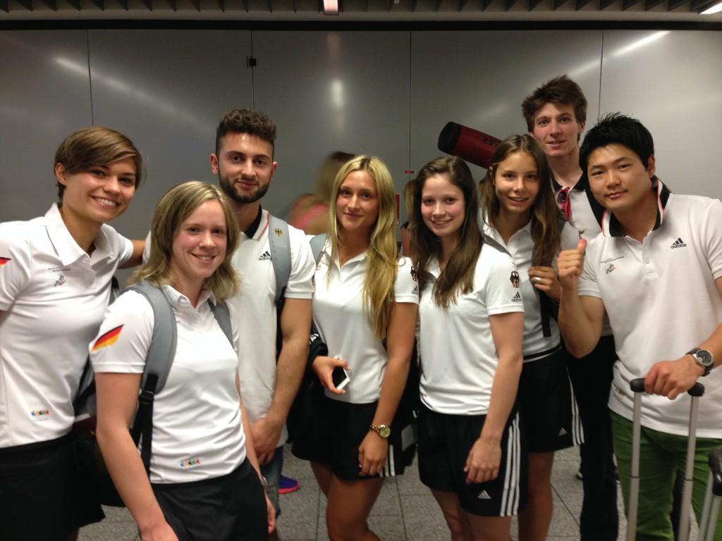 Team Taekwondo vor dem Abflug in Frankfurt